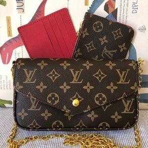 Louis Vuitton 8 x 4 x 1.5 RED BROWN